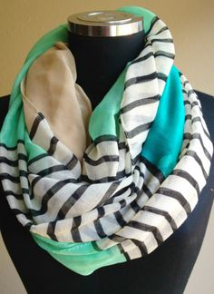 Mint and Blue Striped Infinity Scarf | Sparkly Jewels