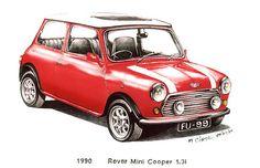 Red 1990 Rover Mini Cooper Car $3