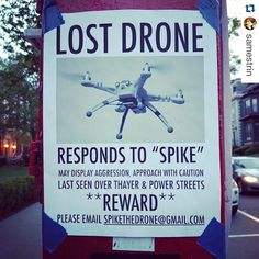 """""""#Repost @samestrin with @repostapp. ・・・ Lost #Drone. #drones #uav #lol #signage #spike #reward #droneuniversities #aerialphotography #aerialb #abovehub #caution #lostdrone"""" Photo taken by @find_my_drone on Instagram, pinned via the InstaPin iOS App! http://www.instapinapp.com (06/13/2015)"""