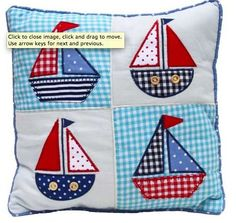 Boys Cushion - Applique design - Helicopter, cars, boats, fish, dogs
