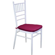 White Tiffany Chair with Dark Red Cushion