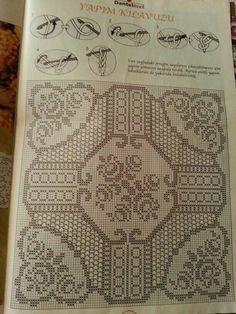 Crochet Books, Thread Crochet, Crochet Stitches, Knit Crochet, Crochet Table Runner, Crochet Tablecloth, Crochet Doilies, Filet Crochet Charts, Crochet Diagram