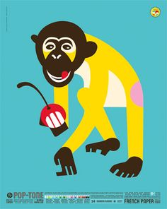 French Pop-Tone - Monkey Poster $30.00 - French Paper - America's family-run paper mill