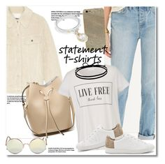 """""""Get the look"""" by vkmd ❤ liked on Polyvore featuring Madewell, Sunday Somewhere, MM6 Maison Margiela, Vince, Judith Ripka, Joomi Lim and statementtshirt"""