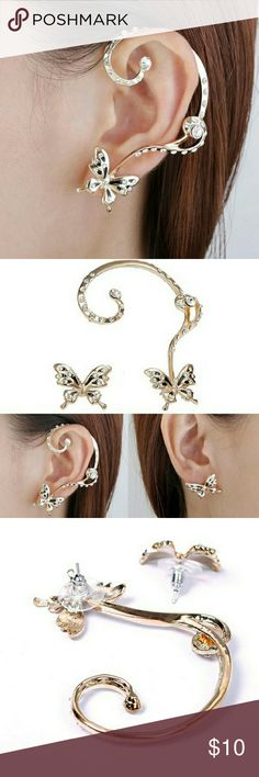 BUTTERFLY EAR CUFF!! Trendy ear climber that will definitely grab attention!! Gold with rhinestone and black or white accents! Jewelry Earrings