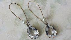 Crystal Teardrop Earrings  Vintage Swarovski by ArtistInJewelry