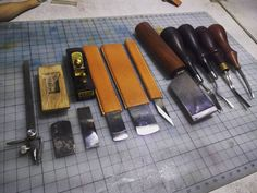 About leather tools maintenance Leather Armor, Leather Tooling, Leather Working Tools, Leather Workshop, Leather Carving, Work Tools, Leather Projects, Leather Keychain, Leather Accessories