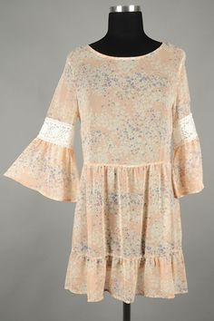*** New Style *** Sheer Chiffon Sundress with Lace Trim Bell Sleeves and Ruffle Finish Skirt in Pretty Flower Trail Print.