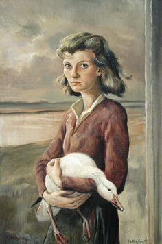Peter Scott's painting of the author Elizabeth Jane Howard, as Fritha holding the injured snow goose Elizabeth Jane, Snow Goose, Fantasy Book Covers, Beautiful Library, Thing 1, Woman Painting, Painting Techniques, Pet Portraits, Cover Art