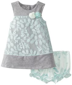 Pippa & Julie Baby-Girls Infant Lacey Sweatshirt Dress, Grey, 18 Months