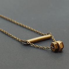 Brass Bar & Hardware Necklace Modern Found Object di Tanith, $30.00