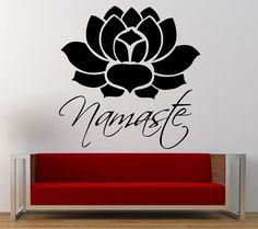 Namaste Lotus Flower Yoga Wall Decal Sticker Vinyl Mural Leaving Bedroom Room Home Decor FREE SHIPPING L312