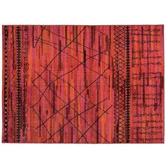 StyleHaven Gypsy Tonal Tribal Rug ($1,500) ❤ liked on Polyvore featuring home, rugs, orange pink, tribal rug, polypropylene area rugs, olefin rugs, patterned rugs and olefin area rugs