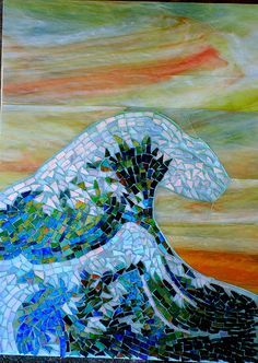 """Maplestone Gallery ~ Contemporary Mosaic Art """"Ode to Hokusai"""" by Suzanne Steeves OLA DE MAR Tile Art, Mosaic Art, Mosaic Glass, Mosaic Tiles, Glass Art, Stained Glass, Tile Painting, Mosaic Crafts, Mosaic Projects"""