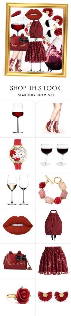 """Wine Wine & Wine."" by sachi-grl ❤ liked on Polyvore featuring iittala, Whimsical Watches, Riedel, Oscar de la Renta, Lime Crime, Chicwish, Katerina Makriyianni, Gucci, napa and winerywedding"