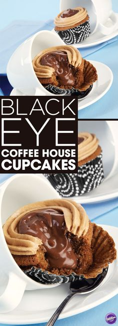 Black Eye Coffee House Cupcake Recipe - If you love coffee and a caffeine buzz, these are the cupcakes for you! These cupcakes are named after the popular coffee house drink, the Black Eye, made by pouring two shots of espresso into a cup of drip-brewed java. The drink was named for the way the espresso ring looked while being poured into the coffee. Delicious and fragrant, these cupcakes are for true coffee lovers!