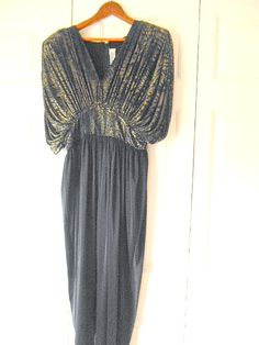 Vintage black and silver foil 80's silky Jumpsuit by houuseofwren