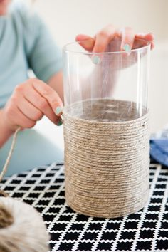DIY: outdoor twine candle holder