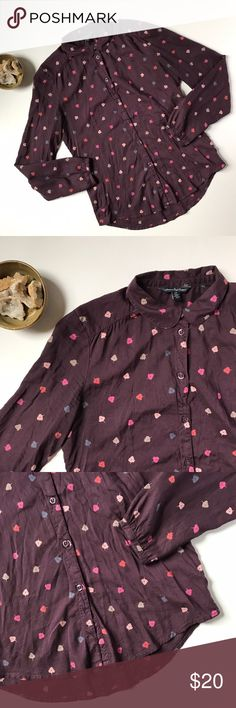 Purple leaf print long sleeve button down shirt S This is a pretty blouse featuring cute details including an allover falling leaf pattern and a Peter Pan style collar. It is made of super soft viscose, so the fabric is smooth and comfortable. This tops is women's size small. It's gently pre-loved with some light wear (no stains or holes, though!) 😉. American Eagle Outfitters Tops Button Down Shirts