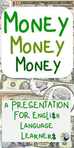 Introduce your students with U. money vocabulary with this presentation. Use the money note catcher and money study guides during your esl lessons and esl activities. Esl Lessons, English Lessons, Learn English, English Verbs, English Vocabulary, English Grammar, English Writing Exercises, Grammar Exercises, Teacher Resources