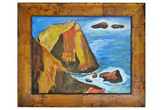 A bold and bright acrylic on canvas of the rocks near Santa Cruz, California by local artist Larry Powell. Illustration Sketches, The Rock, Doodles, Painting, Inspiration, Inspire, Artists, Frame, Pretty