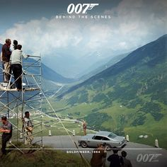 Sean Connery (James Bond) with Bond's Aston Martin filming GOLDFINGER in the Furka Pass, Switzerland. Sean Connery James Bond, Licence To Kill, Aston Martin Db5, James Bond Movies, Scene Photo, Filming Locations, Great Movies, Sport, That Way