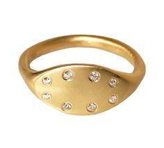 Signet Diamond Woman's Solid 18K Gold Ring by DragatakisJewellery