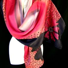 Hand Painted Silk Scarf Black Red Satin Chic Floral by silkshop