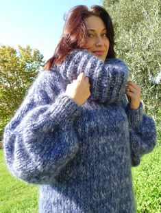 Fluffy Sweater, Fingerless Gloves, Arm Warmers, Turtle Neck, Pullover, Wool, Jumpers, Lady, Sweaters