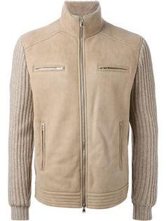 куртка с трикотажными рукавами в рубчик