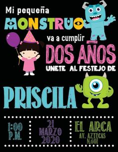 Matteo 2 añitos Monsters Inc Baby, Monsters Ink, Monster Inc Birthday, Monster Inc Party, 1 Year Birthday, Birthday Parties, Party Themes, Diy Crafts, Baby Shower