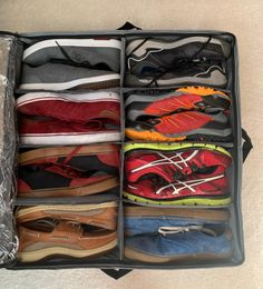 27 Ridiculously Clever Storage Ideas For Your Bedroom An eight-cell under-the-bed storage solution for your seasonal shoes! It hurts my sole seeing shoes pilled up in the back of people's closets. 27 Ridiculously Clever Storage Ideas For Your Bedroom Shoe Organizer Under Bed, Hanging Closet Organizer, Shoes Organizer, Makeup Storage Display, Bed Storage, Storage Ideas, Furniture Storage, Storage Solutions, Furniture Design