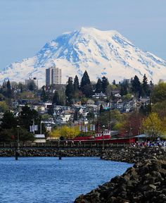 View of Mount Rainier from Ruston Way...I can spot the building I once lived in!