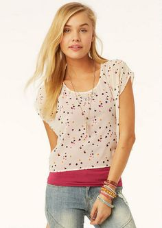 Delia's Zip Back Candy Heart Chiffon Top on shopstyle.com