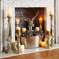 A few candles, some flameless LEDs and a stately stag Decor, Fireplace Mantel Decor, Candles In Fireplace, Fireplace Lighting, Paint Colors For Living Room, Fall Decor, Home Decor, Rustic Home Decor, Rustic House