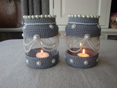 xxx Crochet Lamp, Crochet Gifts, Crochet Flower Patterns, Crochet Designs, Jar Crafts, Bottle Crafts, Crochet Jar Covers, Crochet Hat For Women, Jar Art