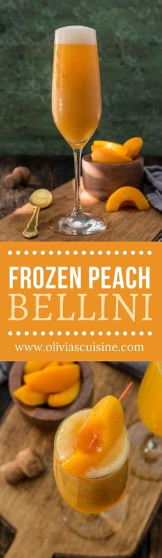 Frozen Peach Bellini | www.oliviascuisine.com | No need to wait until peach season! This Frozen Peach Bellini is made with frozen peaches and is just as delicious. Perfect to toast the New Year in grand style! (Recipe and food photography by @oliviascuisine.) AD
