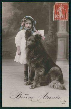 Child Girl Groenendael Belgian Shepherd Dog original old 1910s photo postcard