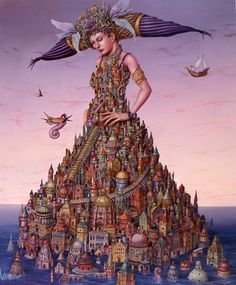Tomek Setowski - These Tomek Setowski illustrations of metropolises that are seemingly built on and into people would give Salvador Dali a run for his money in the . Magic Realism, Realism Art, Salvador Dali, Rene Magritte, Foto Fantasy, Poesia Visual, Vladimir Kush, Psy Art, Pop Surrealism