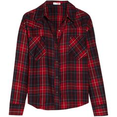 LNA Cropped plaid cotton-flannel shirt ($75) ❤ liked on Polyvore featuring tops, shirts, blouses, flannels, red, red crop top, cotton crop top, crop top, flannel shirts and plaid crop top
