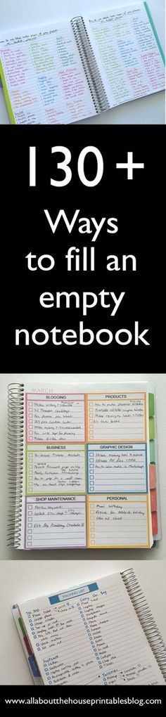 130+ functional ideas to use blank notes pages of your planner or an empty notebook