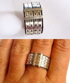 Silver letter ring. How unique! And since it has four letters, it can express your feelings on bad days too!