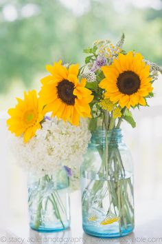 #Sunflower arrangements; photography by Stacy Able; planning by Social Butterfly @socialbweddings