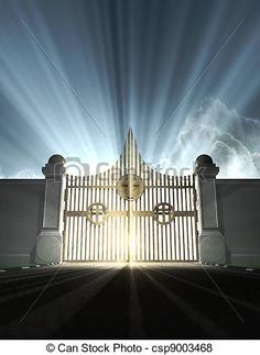 Animated Heaven Gates Gif | depiction of the pearly gates of heaven with the bright side of heaven ...
