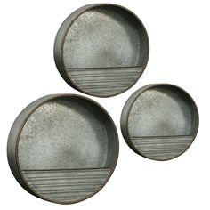 For an industrial vibe, this set of Metal Wall Storage makes for a great decoration. Hang the circular gray pieces onto the wall. With three pieces, you have numerous options for how you wish to display the items in your family room. Solid Wood Shelves, Wood Floating Shelves, Wood Wall Shelf, Wooden Shelves, Wall Storage Shelves, Storage Sets, Display Shelves, Hanging Shelves, Wabi Sabi