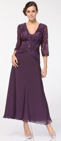 Mother Bride Dresses  Size on Plus Size Purple Mother Of Bride Dress Lacy Long Sleeved Top Ankle