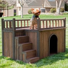 Boomer & George Stair Case Dog House with Heater - Dog Houses at Dog Houses...I think this is cute but I'd never have the money to do this for my dog...he can just sleep with me in my bed.