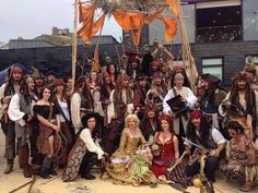 Hastings Pirate day 2014,gathering of Pirates of the Caribbean cosplayers,Scarlett&Giselle NL in front