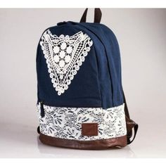 Fashion College Style Triangle Lace Backpack for only $44.99 ,cheap Fashion Backpacks - Fashion Bags online shopping,color:light brown/dark blue Size:High 41 cm * width 28cm * bottom 15 cm