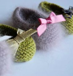 """~ Spring Pirouettes ~ """"April hath put a spirit of youth in everything. Baby Booties Knitting Pattern, Knit Baby Booties, Crochet Baby Shoes, Knit Crochet, Knitting Patterns, Knitting For Kids, Knitting Projects, Baby Knitting, Baby Ballerina"""